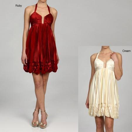 Issue New York Women's Halter V neck Bubble Hem Cocktail Dress