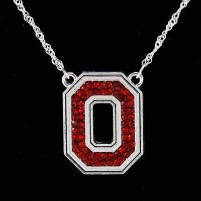 Ohio State Buckeyes Rhinestone Logo Necklace