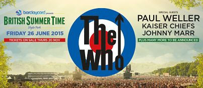 BARCLAYCARD BRITISH SUMMER TIME IN HYDE PARK 2015 has announced The Who, along with Paul Weller, Kaiser Chiefs, Johnny Marr plus more to be announced. Tickets on sale Thursday 20th Nov --> http://www.allgigs.co.uk/click/britishsummertimeinhydepark