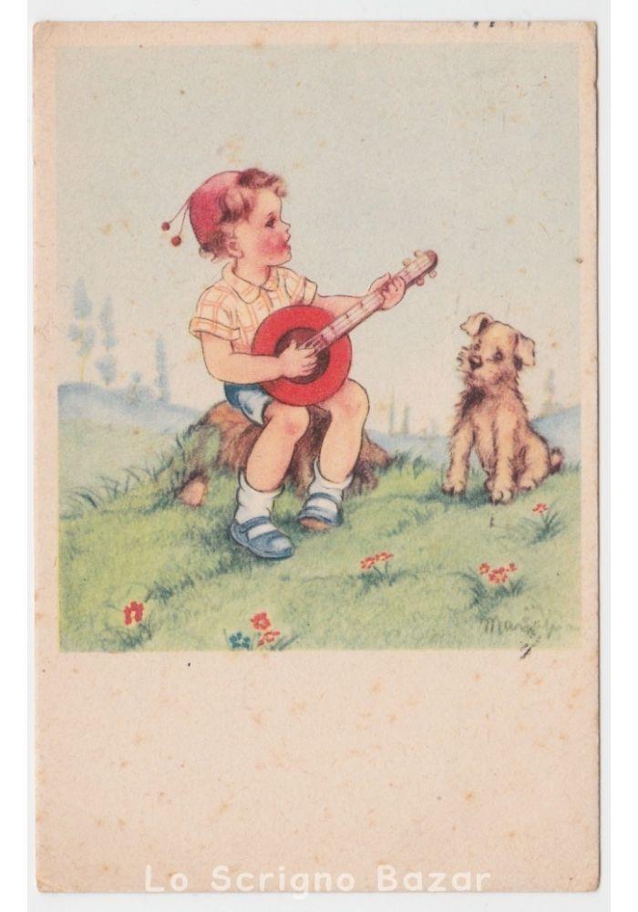 1948 MARIAPIA cartolina d'epoca bambino banjo cane strumenti musicali cantante | eBay