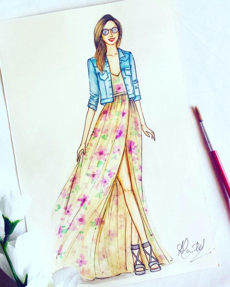 #Fashion illustration #Maxi dress