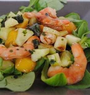 Salade de mache à la crevette et à la mangue - les meilleures recettes de cuisine d'Ôdélices