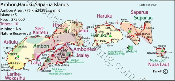 Ambon, Haruku, Saparua, Map, Molana, Nusa Laut, Molukken, maluku