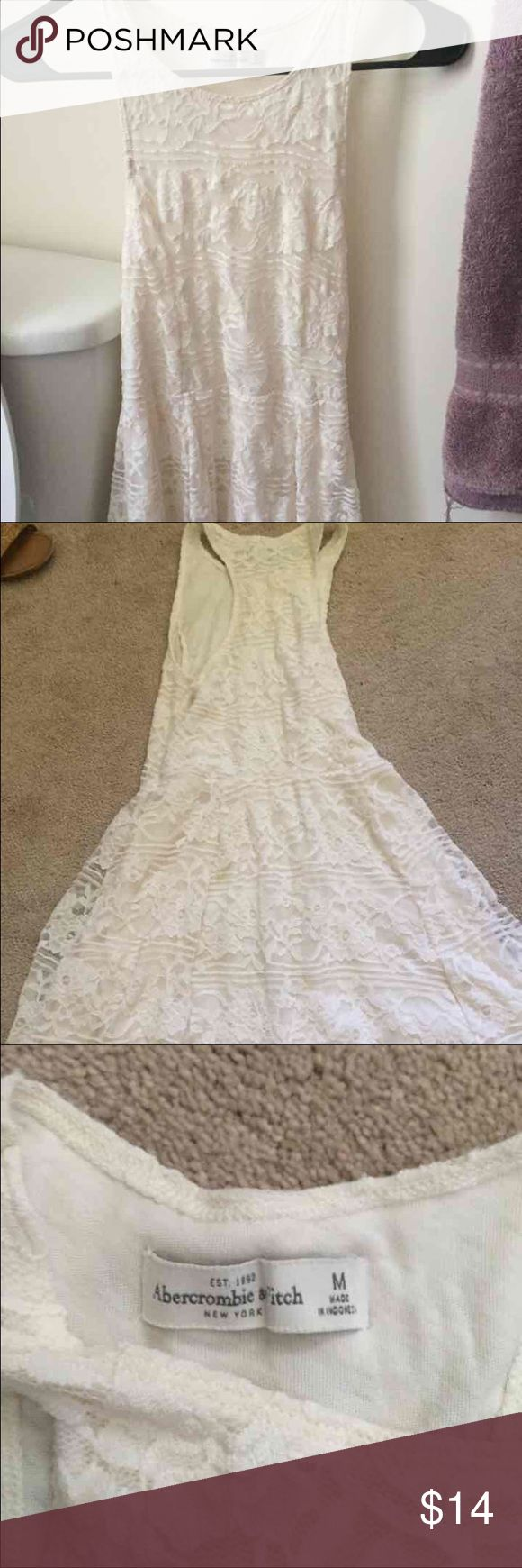 White Lace Abercrombie and Fitch dress White Abercrombie and Fitch dress super cute . Never wore it . Abercrombie & Fitch Dresses