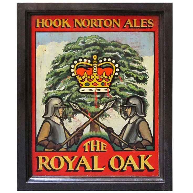English Pub Sign - The Royal Oak (Hook Norton Ales) | From a unique collection of antique and modern signs at http://www.1stdibs.com/furniture/folk-art/signs/