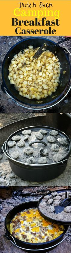 Mountain Man Breakfast Casserole - a hearty breakfast of sausage, potatoes, onions, cheese and eggs cooked in a Dutch Oven over hot coals.  The perfect camping breakfast before a day of hiking, and enjoying the great outdoors!