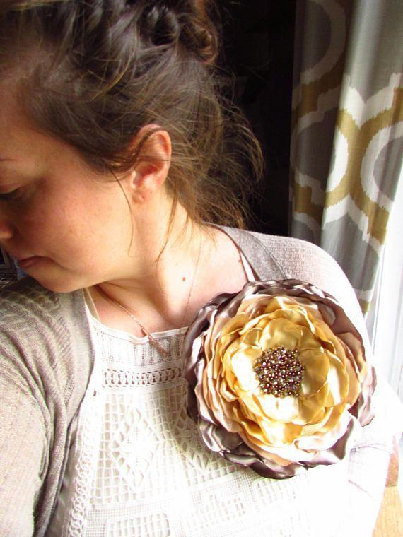 Handmade Extra Large Silk Fabric Flower Brooch Oversized Big Silk