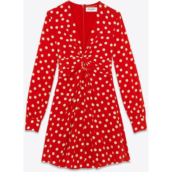 Saint Laurent Knot Mini Dress In Red And Ivory Polka Dot Printed Silk... (€1.530) ❤ liked on Polyvore featuring dresses, opium, short red dress, v neck short dress, short dresses, red polka dot dress and red mini dress