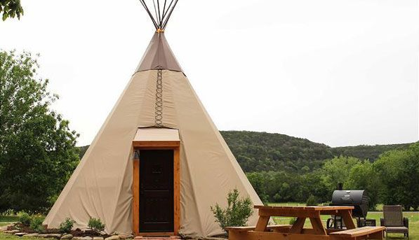 A tepee in New Braunfels, Texas In this furnished and air-conditioned tent, you can enjoy the great outdoors--without giving up the luxury of a private bathroom. via @Purewow