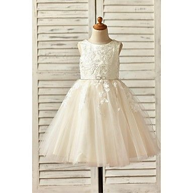 A-line Knee-length Flower Girl Dress - Lace / Tulle Sleeveless Scoop with Appliques / Beading – USD $ 59.99