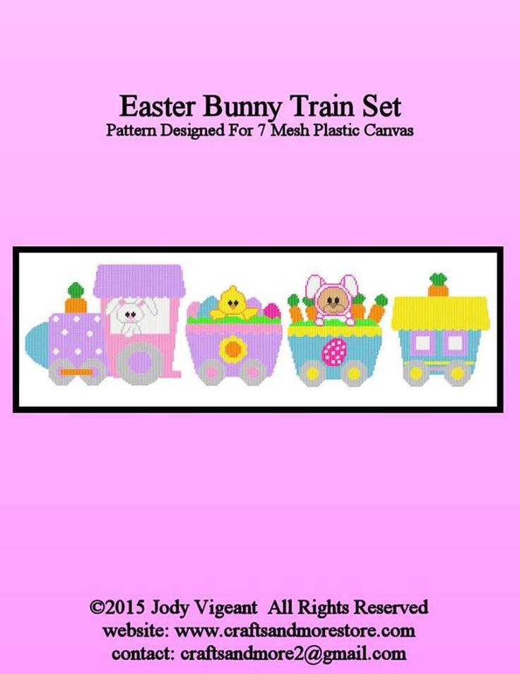 531 best plastic canvas easter images on pinterest plastic canvas easter bunny train set pg 15 negle Images