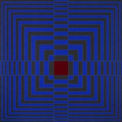 'Blue cross with red' (1968) by American painter Edna Andrade (1917-2008). Acrylic on canvas, 36.75 x 36.75 in. via Museo de Arte Contemporáneo de Buenos Aires on artsy