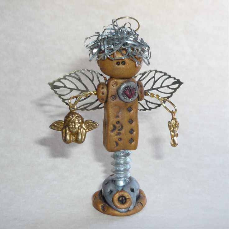 Miniature Angel Figure Art Doll Polymer Clay by freeheart1 on Etsy, $22.00
