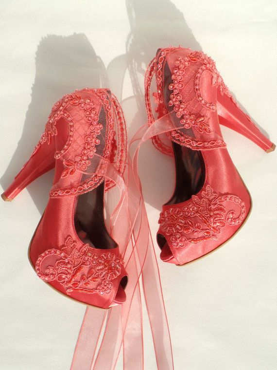 Wedding Shoes - Coral Embroidered Lace Bridal Shoes