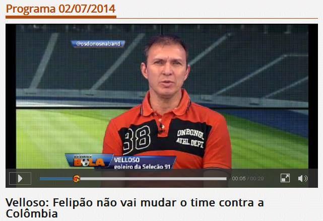 Velloso, goleiro da Seleção em 91 e hoje comentarista esportivo, usando PÓLO ONBONGO no programa OS DONOS DA BOLA (Band).