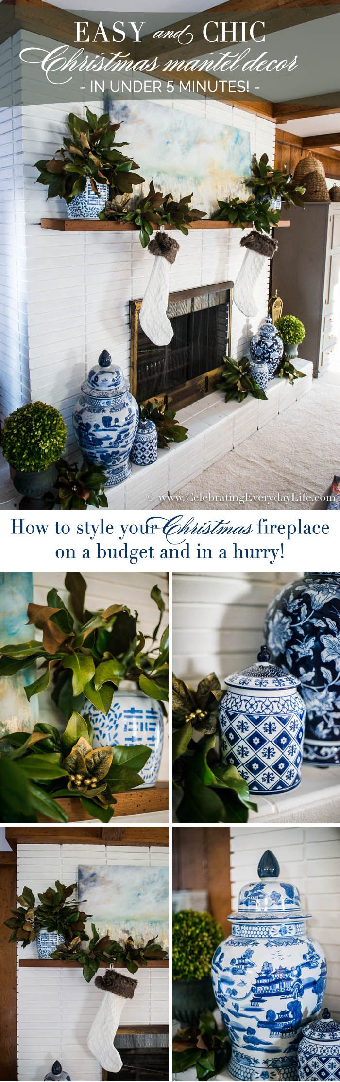 5 minute easy christmas mantel decor - Decor For Mantels