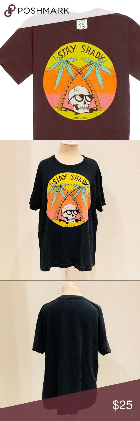 Stay Shady Bad Acid T-Shirt Stay Shady T-Shirt — Brand: Bad Acid from PacSun — Size: Medium — Black with Multicolor Graphic — Short Sleeve Cotton Tee — Graphic Skull in Sunglasses Under Palm Trees  — EUC: Excellent Used Condition  🔅Offer what you find fair PacSun Shirts Tees - Short Sleeve