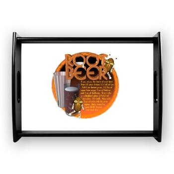 Adult Root Beer recipe Coffee Tray Adult Root Beer recipe uses lemon juice, sugar, kahula, galliano, valxart, high ball, cola $53.55  By Valxart.com at http://cafepress.com/valxart Enjoy breakfast in bed or serve guests with our chic tray.  This serving tray is a convenient home accessory that is functional and adds a classic design element to any room. Black wooden tray with gloss finish on image surface Large -18.75 x 13.5 Food safe and easy to clean