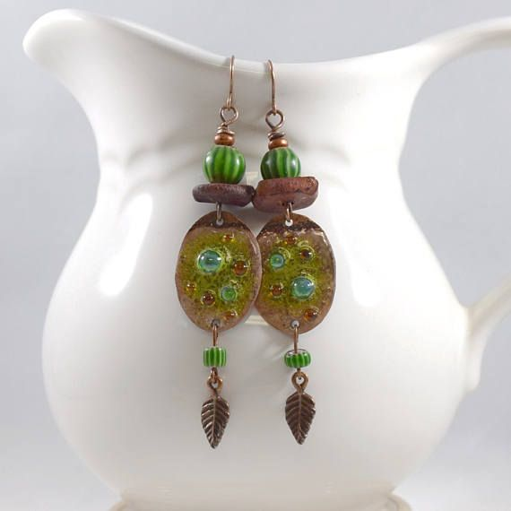 Copper and Green Tribal Boho Chic Earrings Antique Copper
