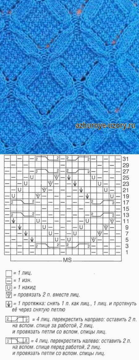 № 162 Ажурные косы - узор спицами - схема | Ажурные Узоры