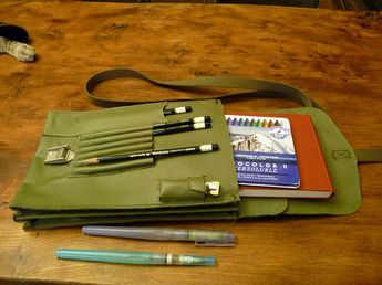 Newest sketching bag - a Olive Drab German Map Case from the Army Surplus store by betolung, via Flickr
