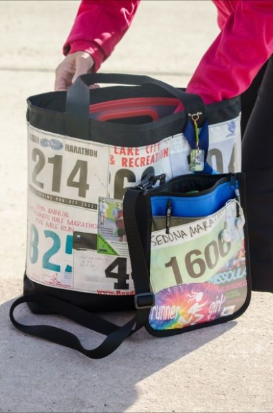 Custom bags made from your running, cycling, and triathlon memorabilia. Race Day Tote Bag (large) and Cross-Country Crossbody Bag (Small). #RunningBibBag #RunningGift #RunnersGift