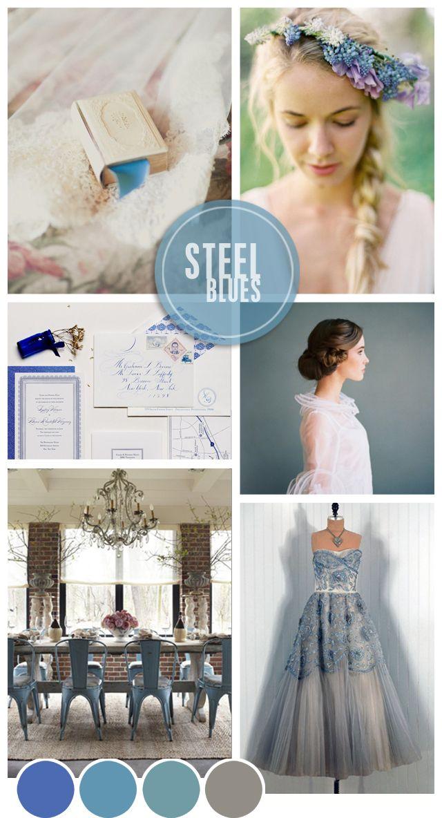 Steel Blues Wedding Inspiration | Mood Board see more at http://www.wantthatwedding.co.uk/2012/11/27/steel-blues-wedding-inspiration-mood-board/
