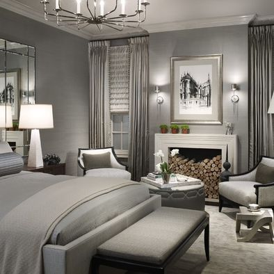 master bedroom layout. fireplace between windows round ottoman between two chairs mirrors behind night stands sconces on each side of the pict love it all: Grey Bedrooms, Beds Rooms, Contemporary Bedroom, Bedrooms Design, 50 Shades, Silver Bedroom, Master Bedrooms, Bedrooms Idea, Gray Bedrooms