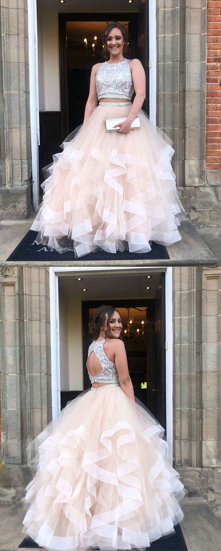Sparkly two piece champagne long prom dress with open back in