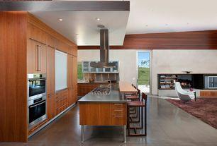 Modern Kitchen with Breakfast bar, Undermount Sink, Flush, L-shaped, Cavaliere Euro Island-Mount Modern Range Hood