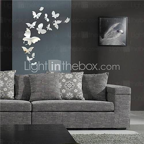 spiegel muurstickers muur stickers, diy 14pcs vlinder spiegel acryl muurstickers 2015 – €9.49