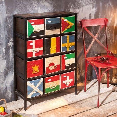 Flags ladekast vintage look antiek