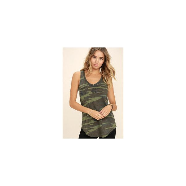 Now You See Me Olive Green Camo Print Tank Top ($34) ❤ liked on Polyvore featuring tops, burnout tank, sleeveless tank tops, burn out tank, camo tank tops and sleeveless tank