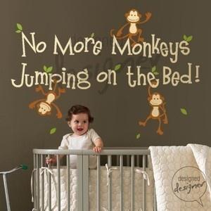 no more monkeys jumping on the bed dd1028 vinyl sticker. Black Bedroom Furniture Sets. Home Design Ideas