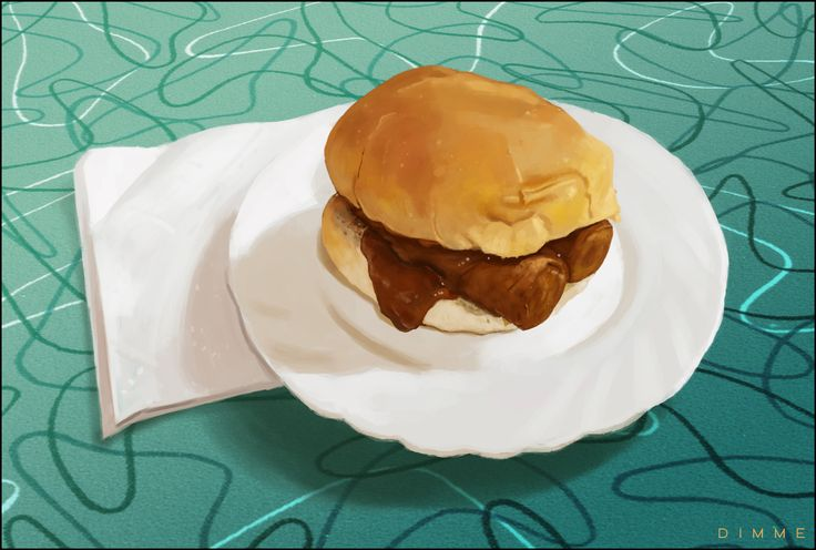 'Frikandel' (Dutch junkfood) sandwich. Digital painting by Dimme McWood | www.monkeyboy.nl