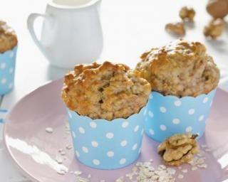 Muffins végétariens à l'avoine, sirop d'érable et noix sans matières grasses