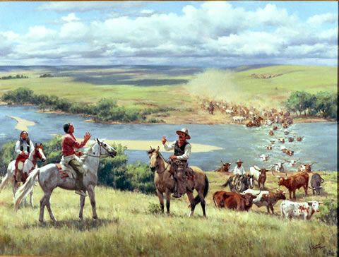 The Great Western Cattle Trail. Crossing on the North Fork of the Red River. Artist: Barbara Vaupel
