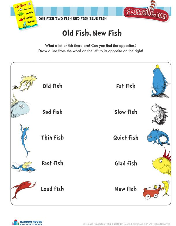 One fish two fish red fish blue fish worksheets free for One fish two fish printable