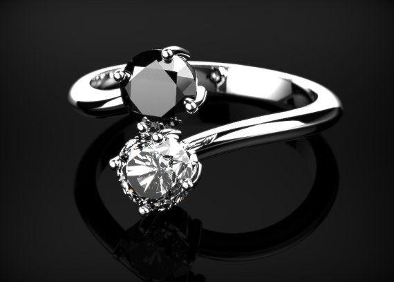 Schwarzer Diamant Verlobungsring schwarzer Diamant
