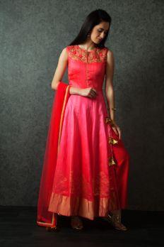 Banarasi tussar silk kurta embellished with gota and resham work from #Benzer #Benzerworld #Indianwear #Kurta #Anarkali