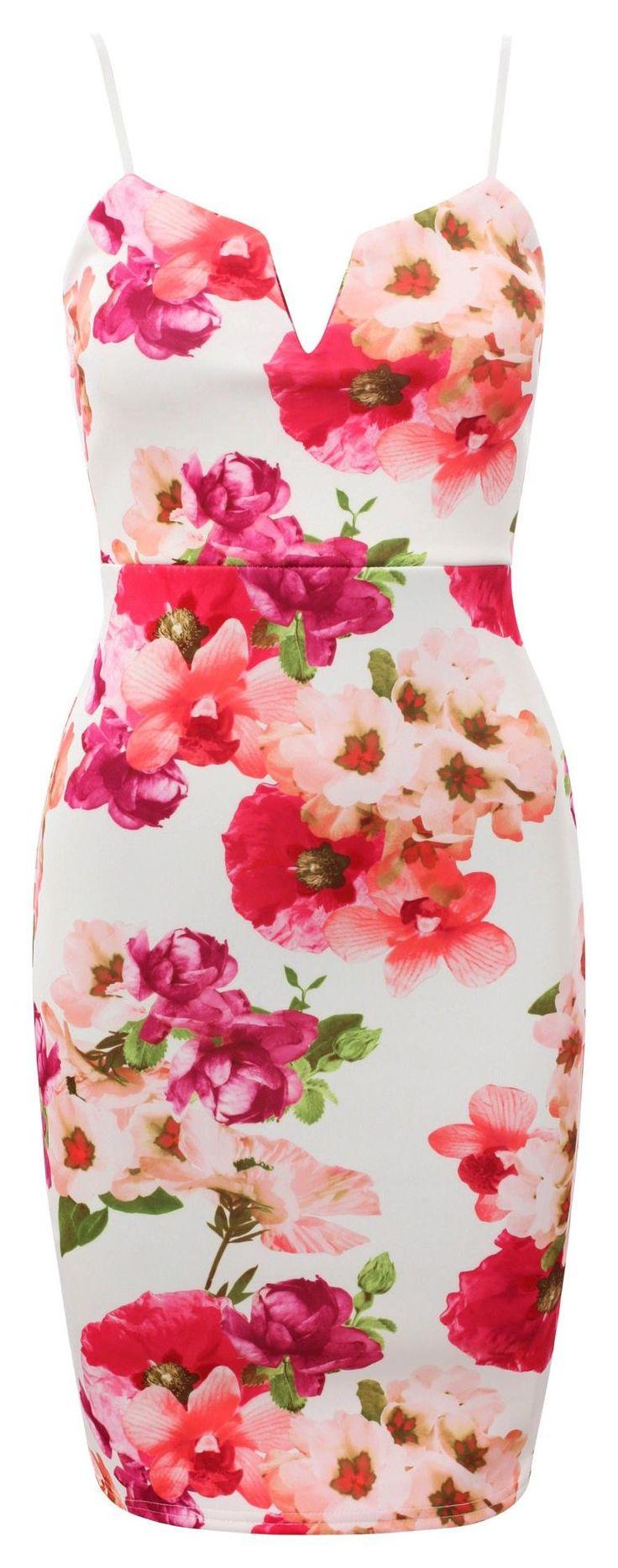 Kobieca sukienka ołowkowa w kwiaty