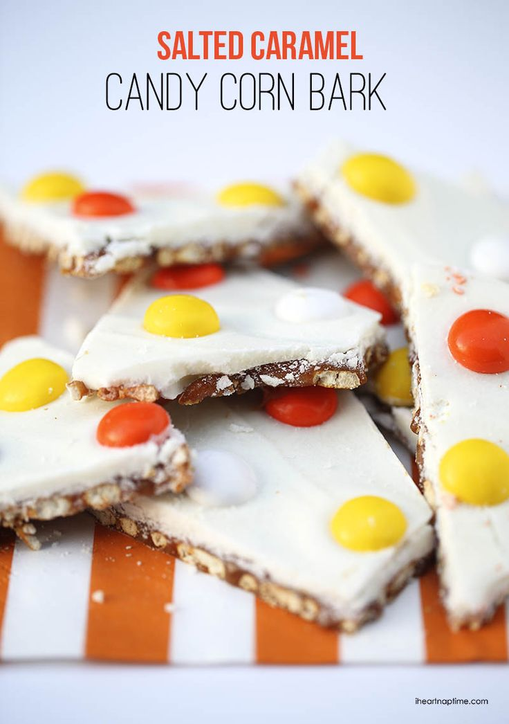 This candy corn bark is seriously addicting! I sent this plate into work with my hubs, so I wouldn't be tempted to eat it all.