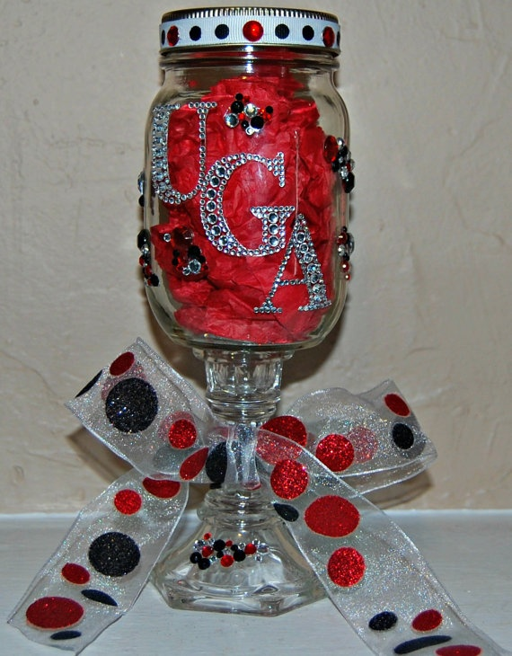 Personalized College Themed Mason Jar UGA Georgia by ItsTaylorMade