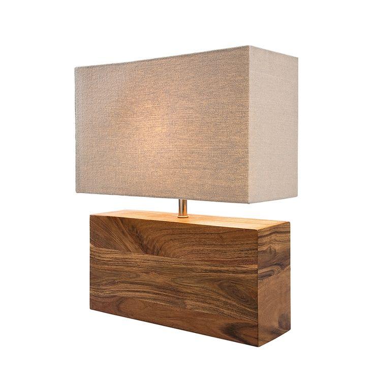 Tischleuchte Rectangular Wood Nature - Baumwolle/Akazienholz