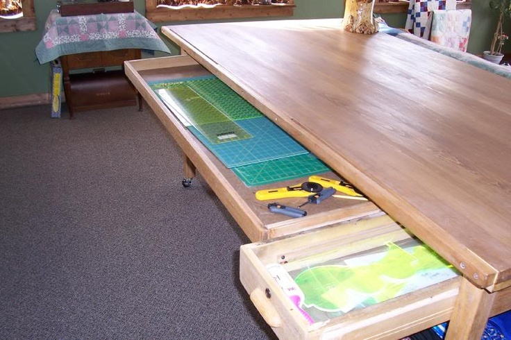 Cutting table with drawers for mats/rulers etc.