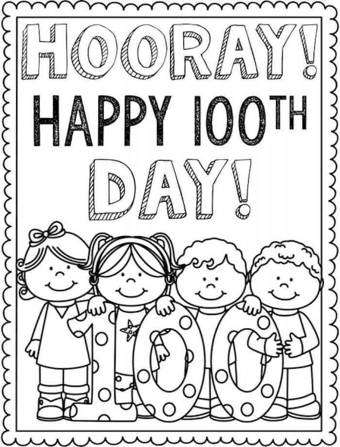 100 Days Coloring Pages : coloring, pages, Printable, School, Coloring, Pages, Sheets, Project,, 100th, Crafts,