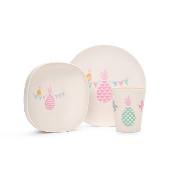 Le coffret de repas pour bébé de Penny Scallan : ananas et ton pastels, à croquer ! #repas #bébé #assiette #vaisselle #diner