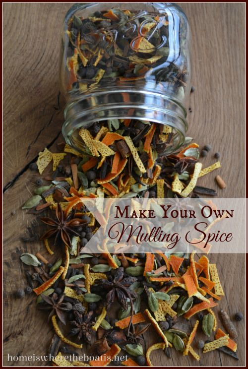 Make Your Own Mulling Spice recipe with dried orange peel for Spicy Cider or Mulled Wine http://homeiswheretheboatis.net/ #cider #foodgift