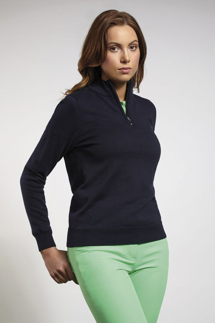 Glenmuir Ladies Cotton Zip Neck Lightweight Stretch Lined Golf Sweater