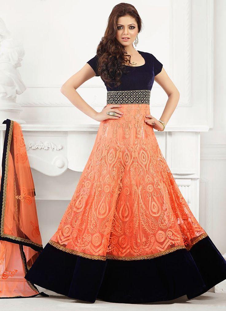 Orange Net Madhubala Floor Length Anarkali